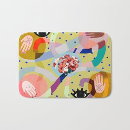 abstract evil eye , female hands, dots, love, flowers Bath Mat