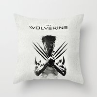x men Throw Pillows featuring X-MEN by bimorecreative