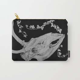 Graphite Deer Skull With Ivy Carry-All Pouch
