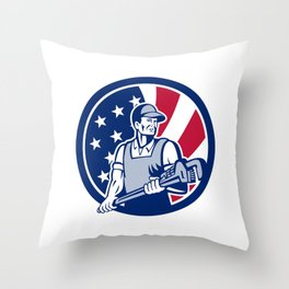 American Plumber and Pipefitter USA Flag Icon Throw Pillow