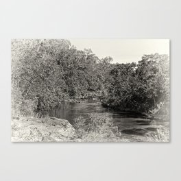 Black and white study of a tranquil river Canvas Print