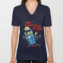 How The Grinch Stole Dr Who (on Dark) Unisex V-Neck