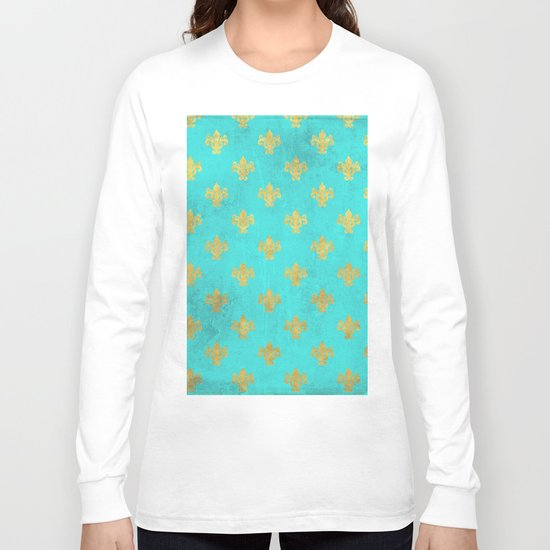 Queenlike on aqua I  Gold Heraldry elements on turquoise background Long Sleeve T-shirt