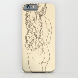 "Egon Schiele ""Standing nude girl with long hair"" iPhone Case"
