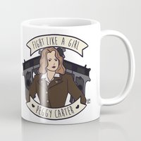 peggy carter Mugs featuring Fight Like a Girl - Peggy Carter by Kaol