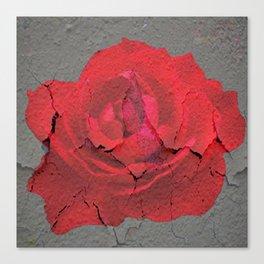 SHABBY CHIC RED ROSE GARDEN  GREY ART Canvas Print