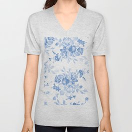 Modern navy blue white watercolor elegant floral Unisex V-Neck