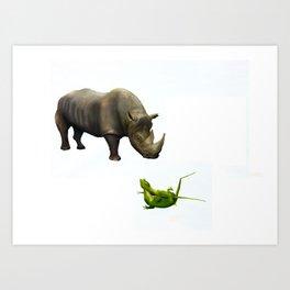 Rhinoceros & Geckos Art Print