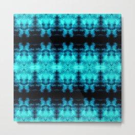 Turquoise Blue Black Diamond Gothic Pattern Metal Print