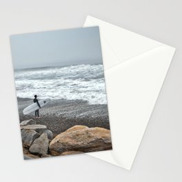 Surfer, High Tide. Torrey Pines State Beach, California. Stationery Cards