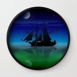 Sailing On A Sea of Green. Wall Clock