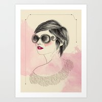 sunglasses Art Prints featuring Sunglasses by Rosaria Degennaro Illustrations