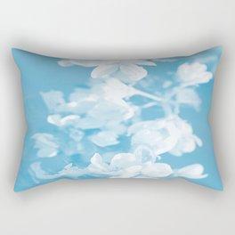 Spring Atmosphere White Flowers Sky Blue Background #decor #society6 #homedecor Rectangular Pillow