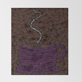 Cup O Type Typographic Coffee Cup Illustration Throw Blanket