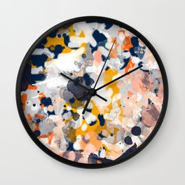 Stella II - Abstract painting in modern fresh colors navy, orange, pink, cream, white, and gold Wall Clock