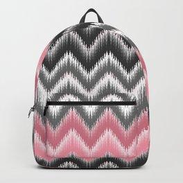Modern blush pink black geometrical ikat chevron Backpack