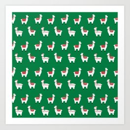 llamas cute nursery home decor alpaca pattern print by charlotte winter Art Print