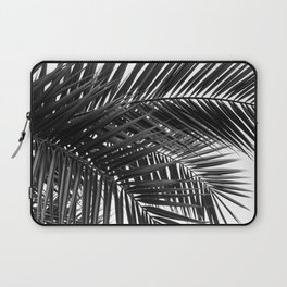 Tropical Palm Leaves - Black and White Nature Photography Laptop Sleeve