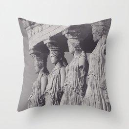 Caryatids of the Erechtheion, ancient greek, Athens agora, Erectheum, Greece photo,  Acropolis of Athens Throw Pillow