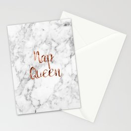 Nap queen - rose gold on marble Stationery Cards