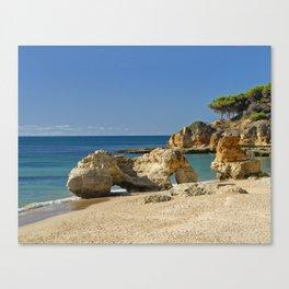 rock formation on Olhos d'Agua beach, Portugal Canvas Print