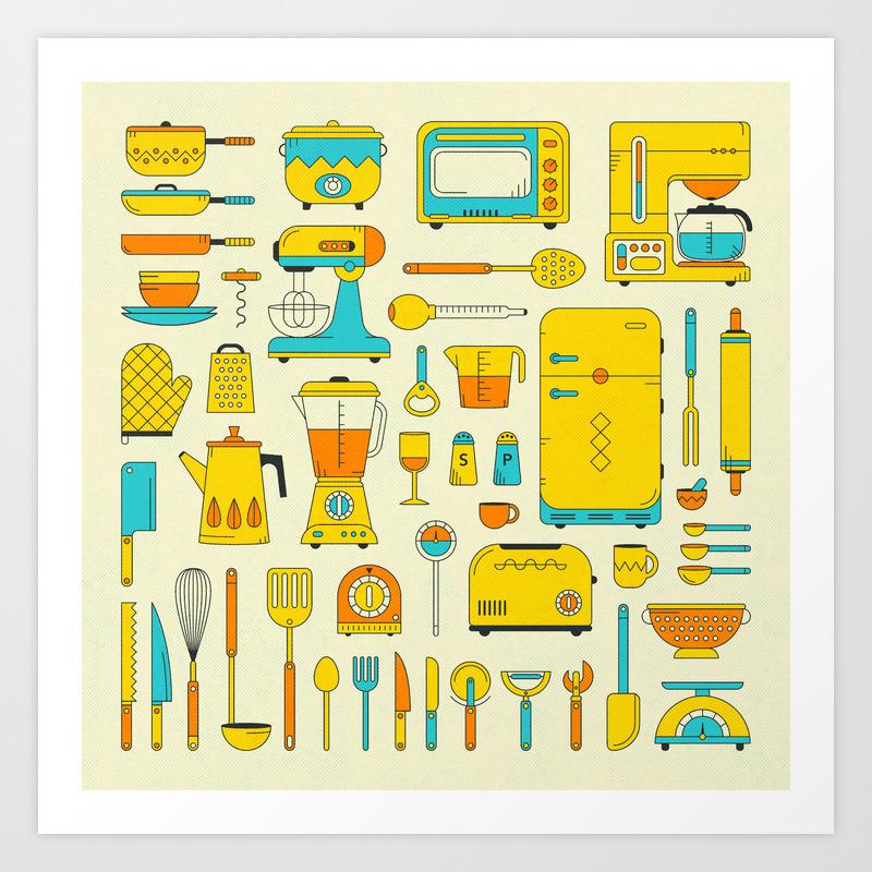 Retro Kitchen Art Print By