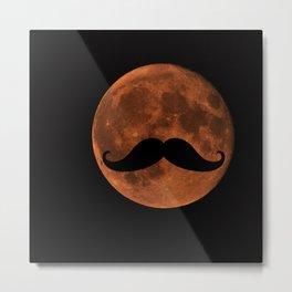 Mustache Moon Metal Print