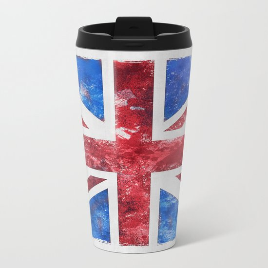 Union Jack Great Britain Flag Grunge Metal Travel Mug