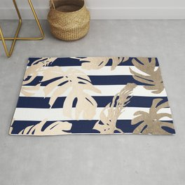 Simply Tropical Palm Leaves on Navy Stripes Rug