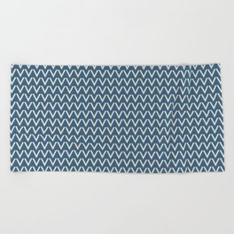 Linen White V Chevron Pattern on Blue Pair To 2020 Color of the Year Chinese Porcelain PPG1160-6 Beach Towel