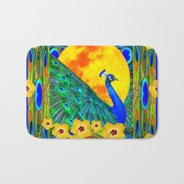 YELLOW HIBISCUS FULL GOLDEN MOON  BLUE PEACOCKS Bath Mat