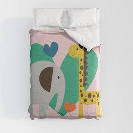 Elephant and Giraffe Pink Comforters