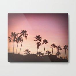 Pink Black Manhattan Beach Sunset Metal Print