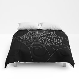 Spider Web Art | Halloween Collection | Spooky | Scary | Vector Art | Black and White Comforters