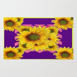 Colorful Chartreuse-Purple Sunflowers Pattern Art Rug