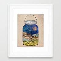 collage Framed Art Prints featuring Star Jar by Jenndalyn
