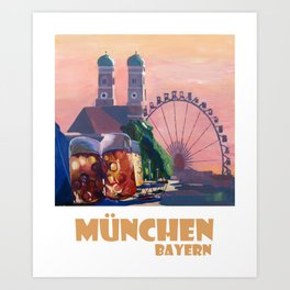 Munich Bavaria Germany Retro Travel  Poster Art Print