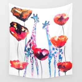 Giraffes and Poppies Wall Tapestry