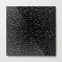 Zodiac Signs Constellations B&W Metal Print