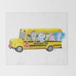 Animal SchoolBus Throw Blanket