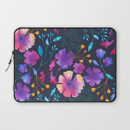 Fluro Floral Watercolour Flower Pattern Laptop Sleeve