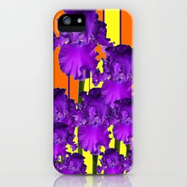 Decorative Contemporary Purple Yellow Iris Orange Garden Art iPhone Case