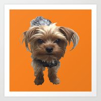 terrier Art Prints featuring Terrier by Pop Art Pet Portraits