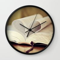 bible Wall Clocks featuring Love Bible by Vintage Rain Photography