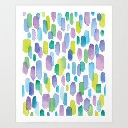 Watercolor Brushstrokes - Blue, Green, Teal, Purple Art Print