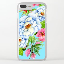 Graceful Floral Print on Easter-Egg-Blue Background Clear iPhone Case