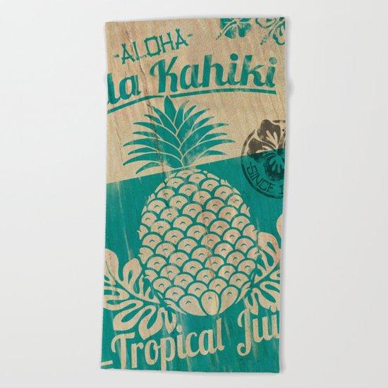 Hala Kahiki Juice Stand wooden board. Beach Towel