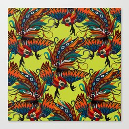 rooster ink chartreuse Canvas Print