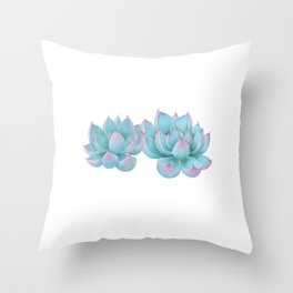Blue Succulents Throw Pillow