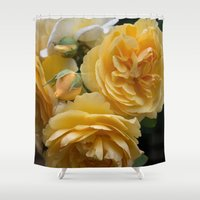 will graham Shower Curtains featuring Graham Thomas old fashioned rose by Jocelyn Friis